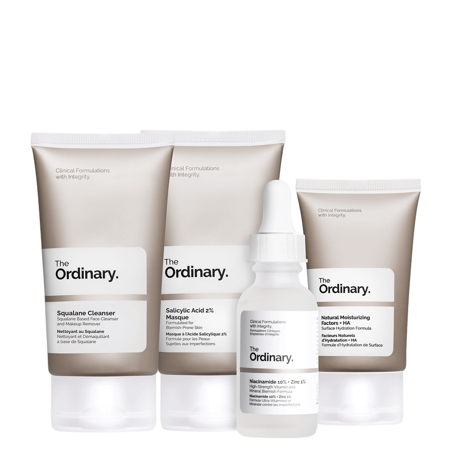 The Ordinary The Ordinary The Balance Set complete regimen with the Squalane Cleanser, Salicylic Acid 2% Masque, Niacinamide 10% + Zinc 1% , and Natural Moisturizing Factors + HA