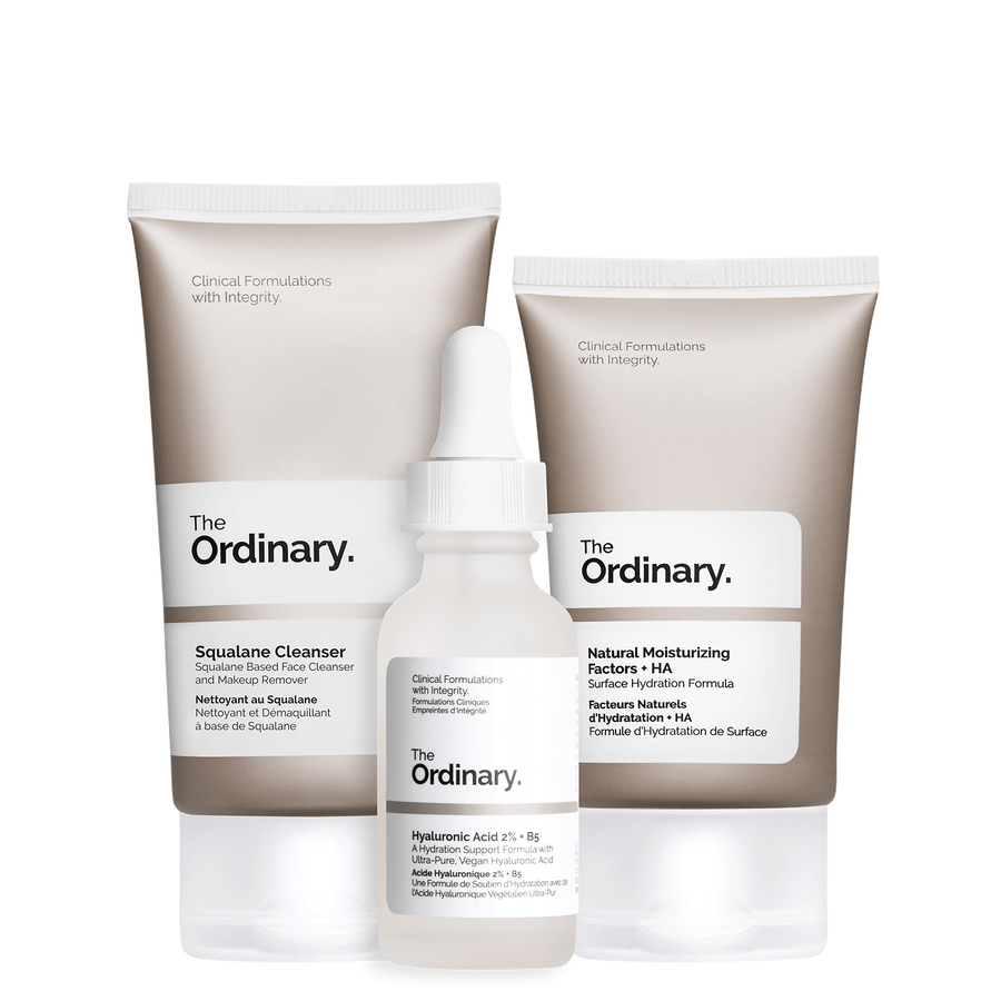 The Ordinary The Ordinary The Daily Set complete regimen with the Squalane Cleanser, Hyaluronic Acid 2% + B5, and Natural Moisturizing Factors + HA